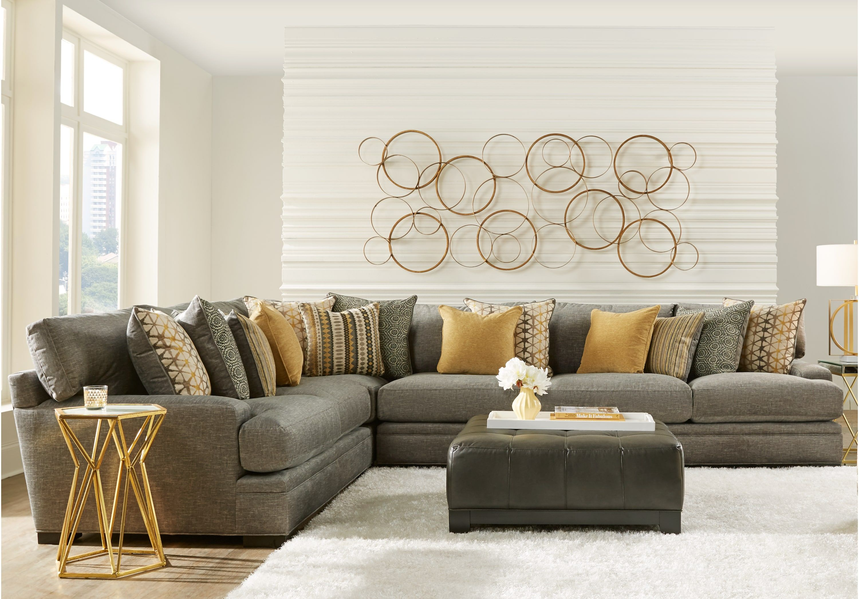 Best Cindy Crawford Home Palm Springs Gray 4 Pc Sectional 400 x 300