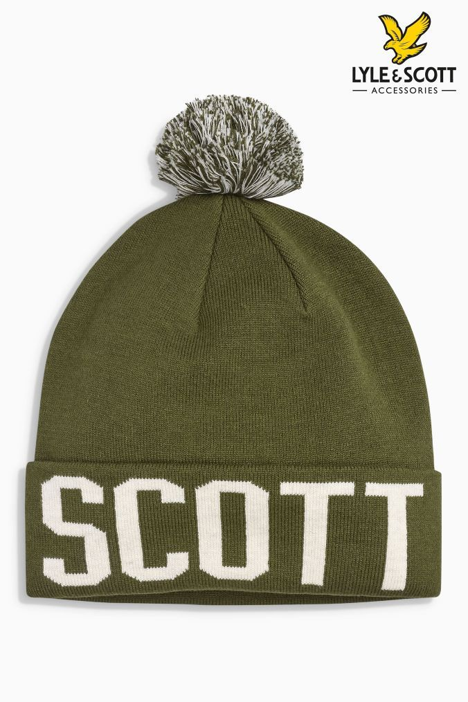 b2a5b5eb6 Mens Lyle & Scott Logo Bobble Hat - Green | Products | Bobble hats ...