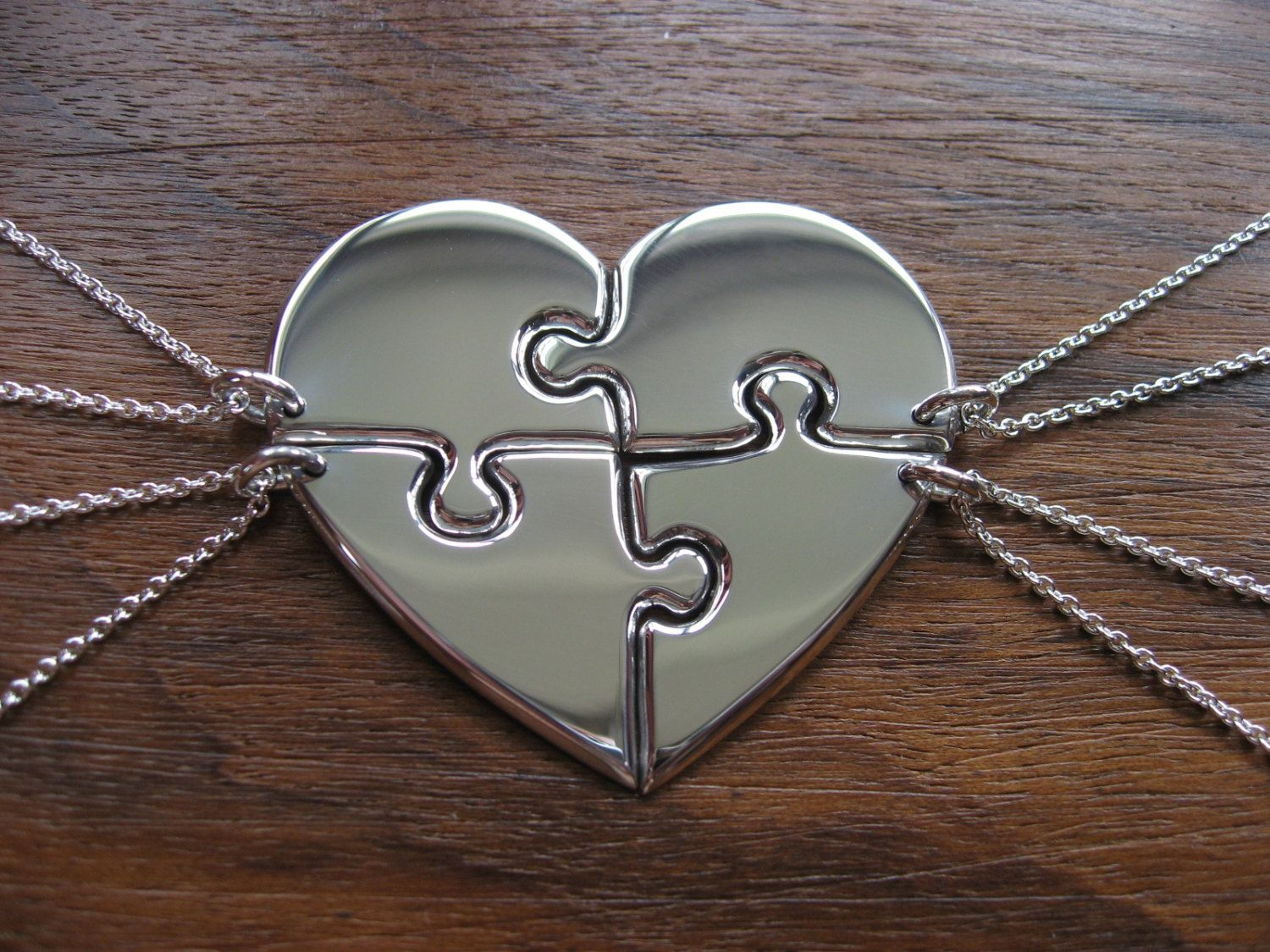 f619df6f153ff Four Piece Heart Puzzle Pendant Necklaces in 2019 | Bridal party ...