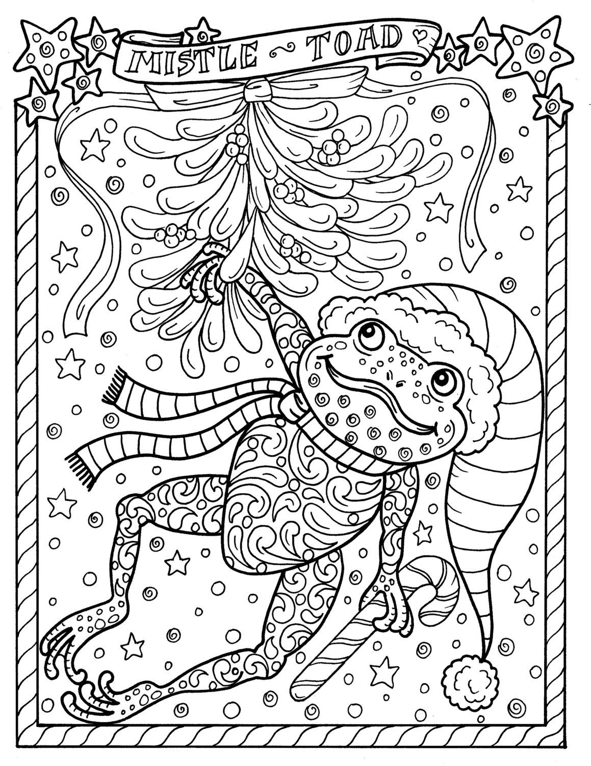 Frog Printable Coloring Page Christmas Mistle Toad Coloring Etsy Christmas Coloring Sheets Frog Coloring Pages Coloring Pages