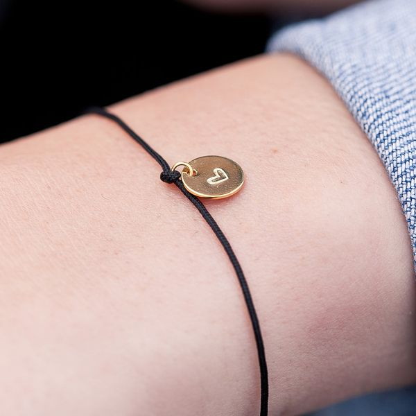 Photo of Oh Bracelet Berlin – nylon bracelet with hand-embossed heart plate, recycled 925 sterling silver | avocado gates