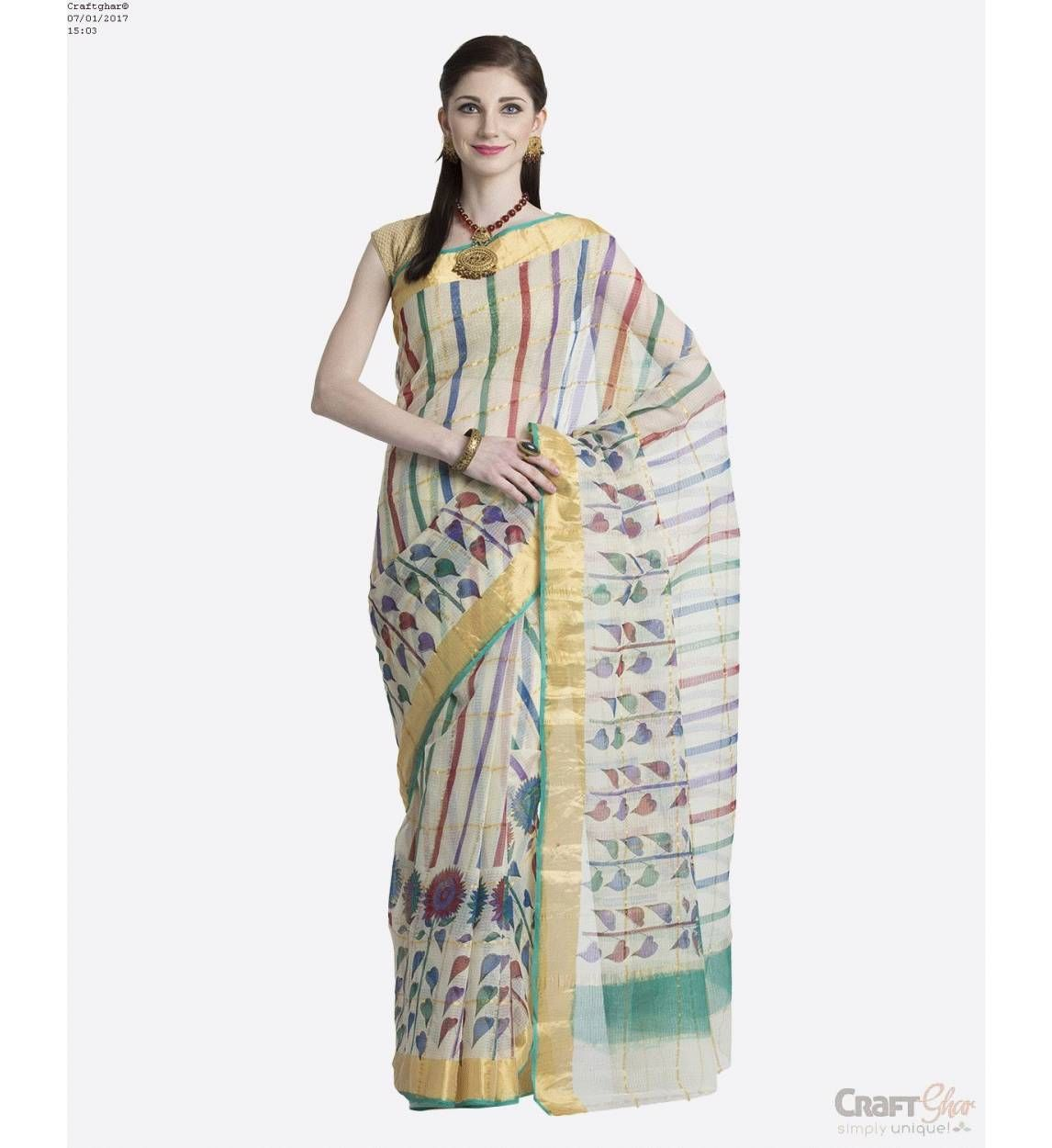 f0662cb9b15c48 Buy Kota Sarees Cotton Beige Green with Golden Printed Border Block Printed  Sari with matching Blouse for Women online shopping | Kota Sarees online in  ...