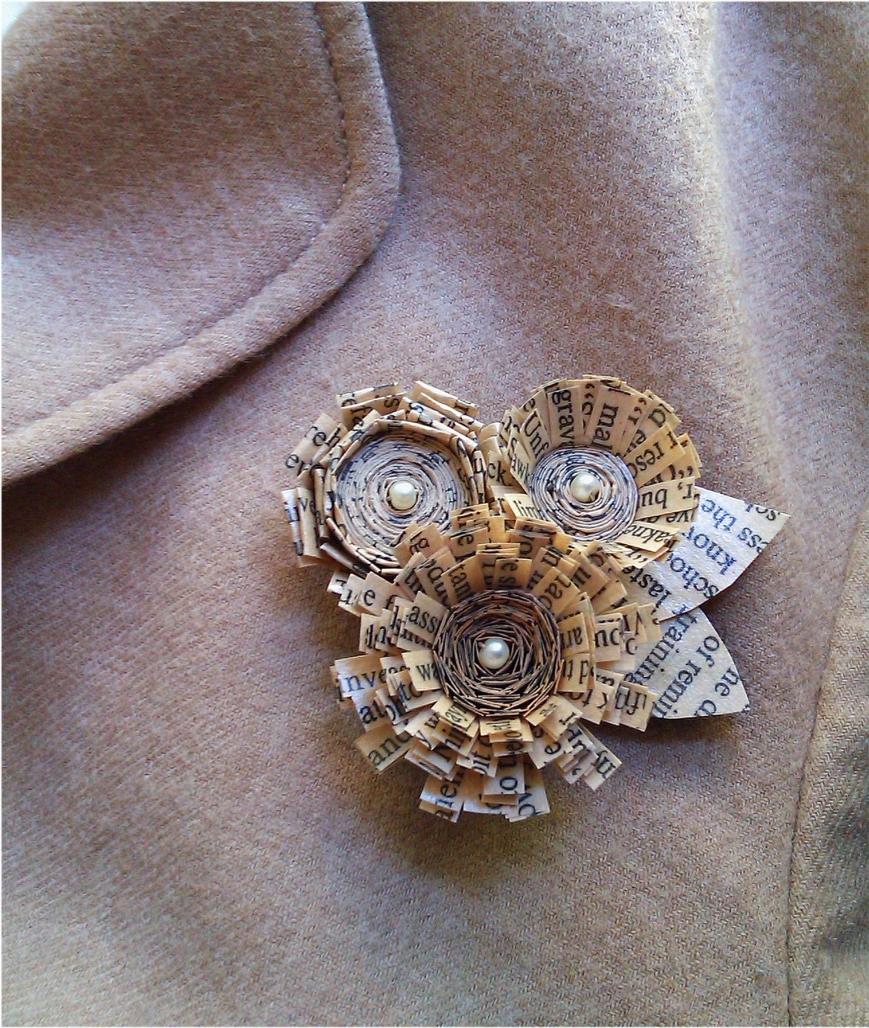 Quilled And Coiled Paper Flower Brooch With Old Text Diy