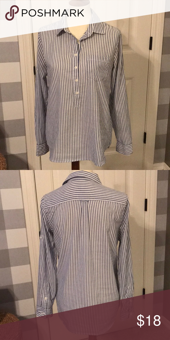 3d867ff109 JCrew shirt JCrew blue and white striped tunic. Has tabs so you can roll up  the sleeves and button them at the elbow. J. Crew Tops Button Down Shirts