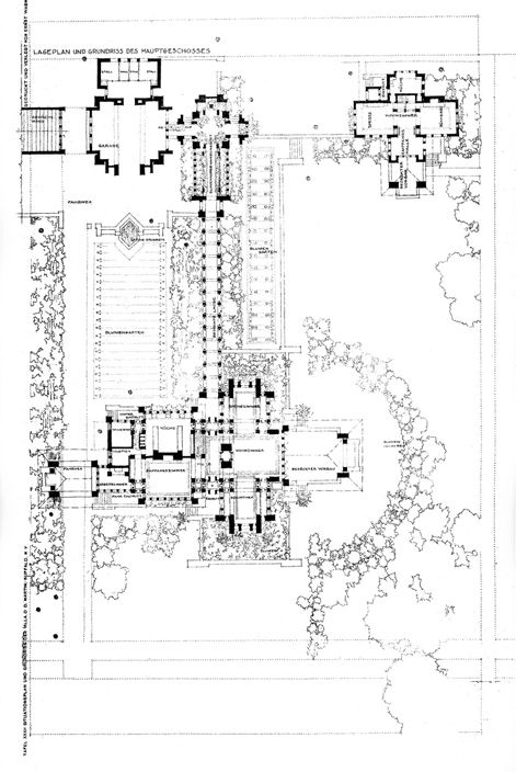 The Darwin D Martin House 1904 Frank Lloyd Wright Martin House Site Plan How To Plan