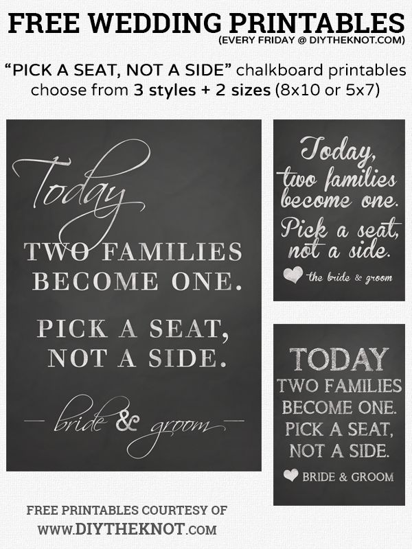 free pick a seat not a side printable chalkboard wedding signs