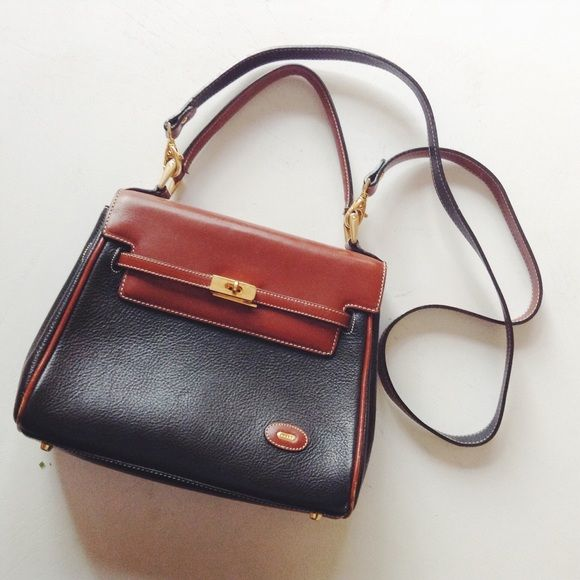 Bally Vintage Bally Brown, Red, And Purple Suede Leather Shoulder Bag, Clutch Bag