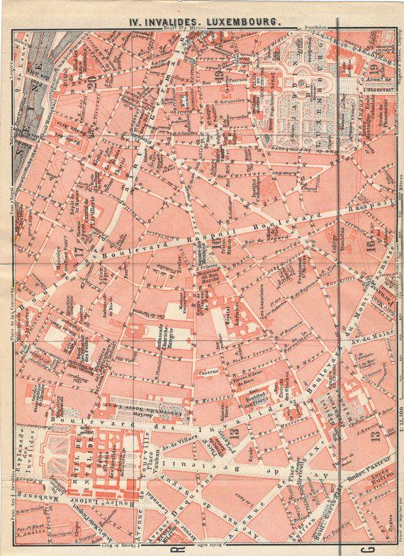 1910 Antique Paris France Street Map | Pinterest | Paris france ...