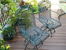 Plantation Patterns Wrought Iron Rocker Swivel 2 Chairs Patio 27 W X 40 H