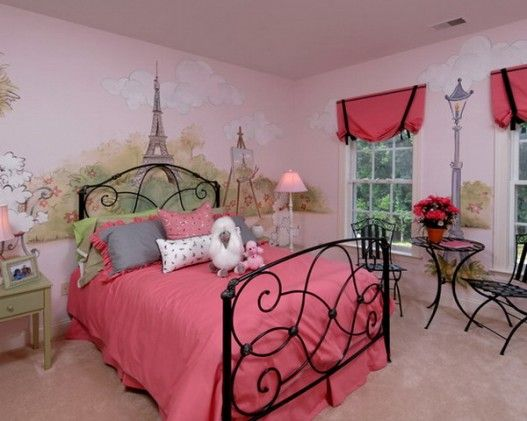 Girls Bedroom Wall Murals Featured Pink Nuance Ideas Image