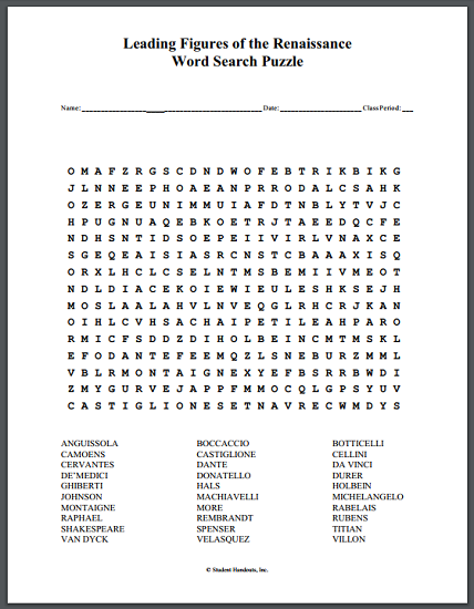 leading figures of the renaissance word search puzzle free to print pdf file social. Black Bedroom Furniture Sets. Home Design Ideas