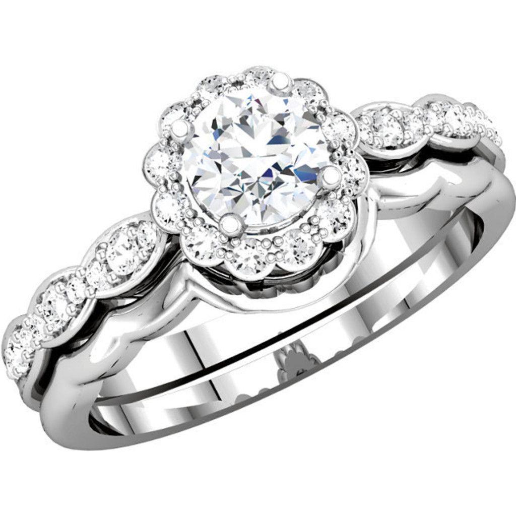 14kt white gold diamond flower halo engagement ring