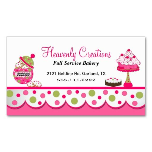 Cute Pink and Green Bakery Business Card | Bakery business cards ...