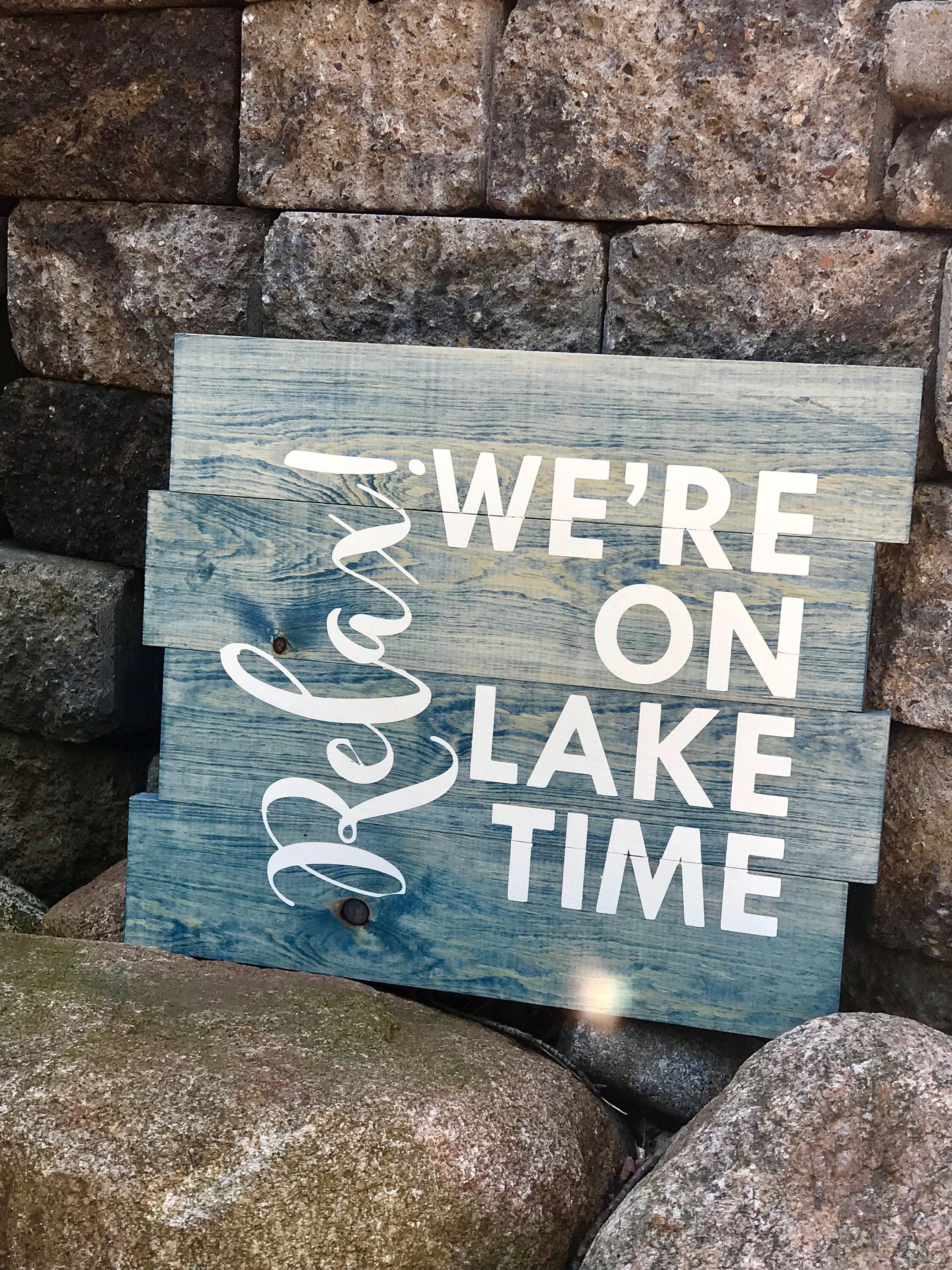 Lake Life Home Decor Pallet Sign Relax We Re On Lake