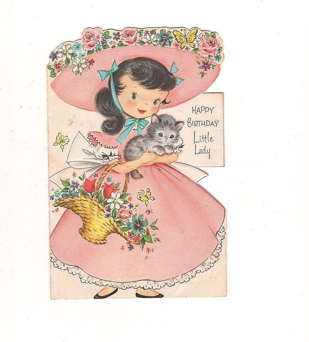 Vintage little girl holding grey kitten birthday greeting card vintage little girl holding grey kitten birthday greeting card ebay kristyandbryce Image collections