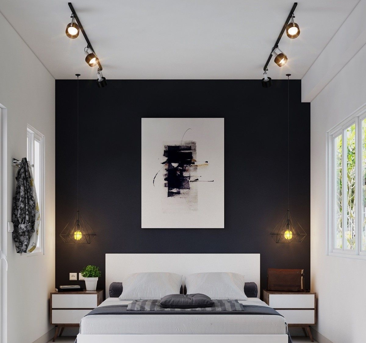 غرف نوم مودرن ابيض و اسود Black White Bedrooms Black Walls Bedroom Bedroom Design