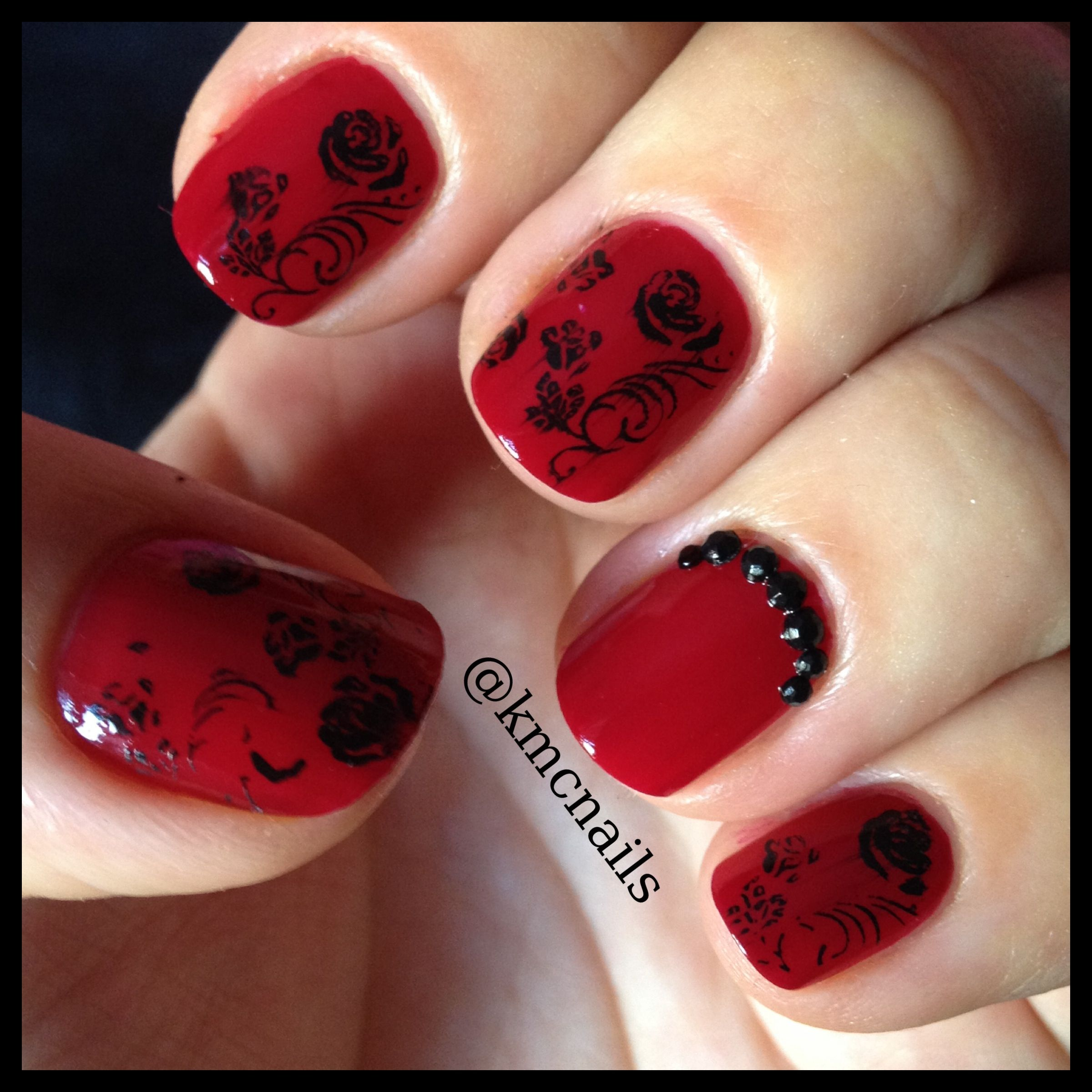 Red and black gothic rose nail art using konad stamps wedding