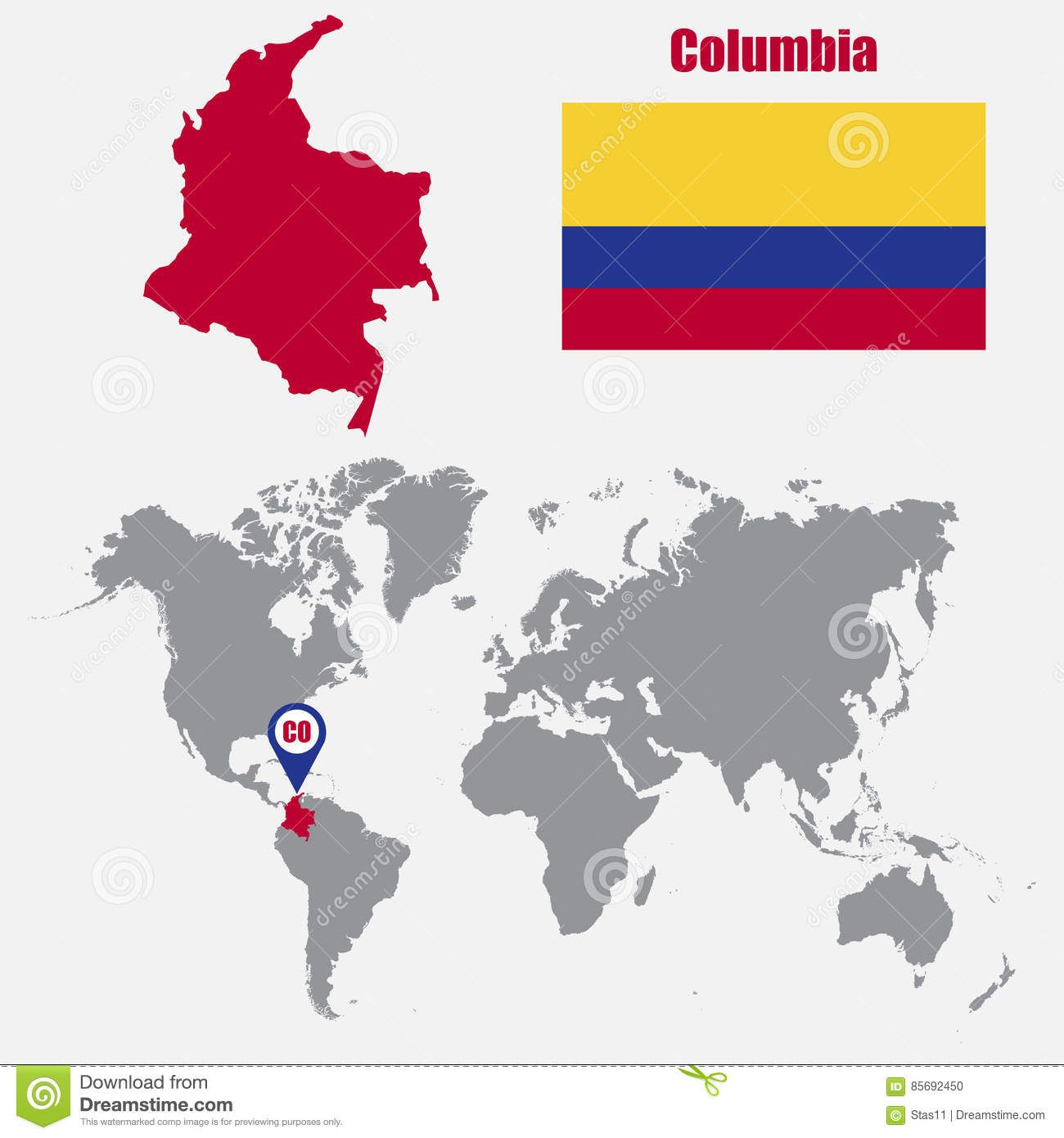 Columbia map on a world map with flag and map pointer vector columbia map on a world map with flag and map pointer vector illustration download gumiabroncs Images