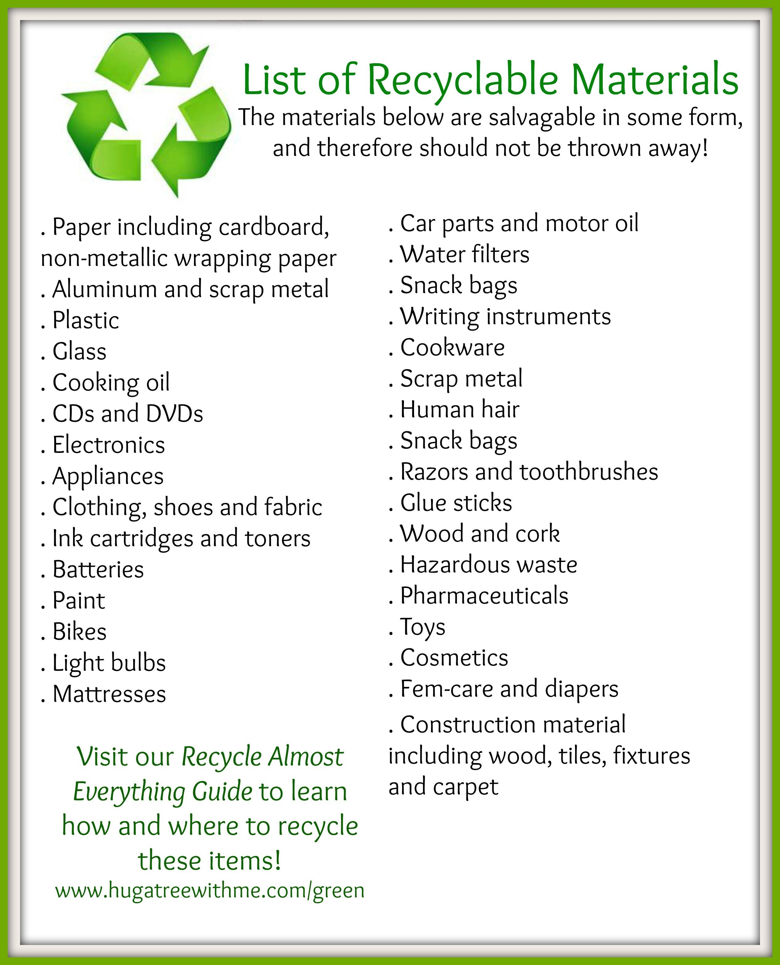 Long List Of Recyclables Visit Our Recycle Almost