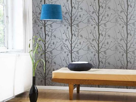 Symmetric Interior Design love the gray tree wallpaper with the