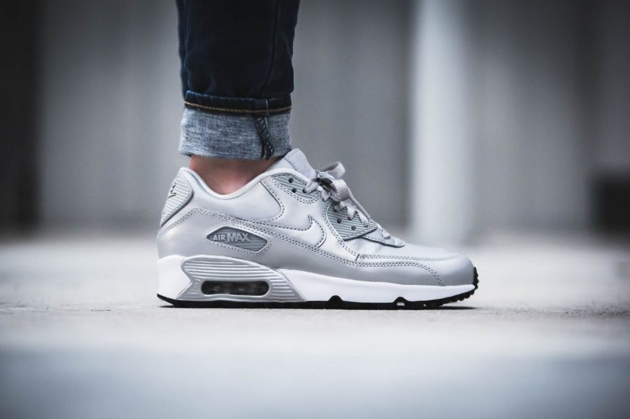 cheap for discount 306fd 060b4 Nike - Air Max 90 SE Leather GS Silver Pack - 859633-003