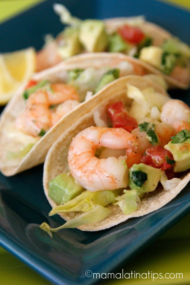 Shrimp and Guacamole Tacos A beautiful combo: shrimp and guacamole on a warm soft tortilla. A fast recipe for busy nights or for Lenten season.