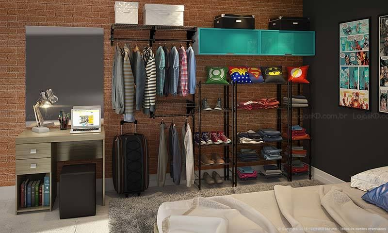 Quarto de Casal com Closet, Módulo Aéreo, Penteadeira, Criado Mudo Suspenso e Cama Branco/Turquesa/Preto/Amêndoa - Caaza | Lojas KD