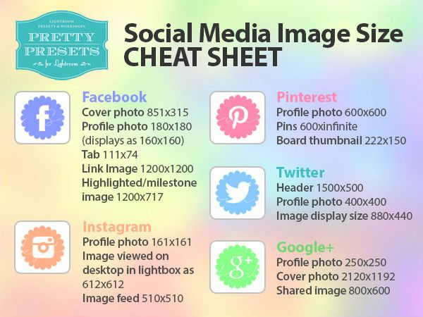 Social Media Image Size Cheat Sheets With Images Social Media