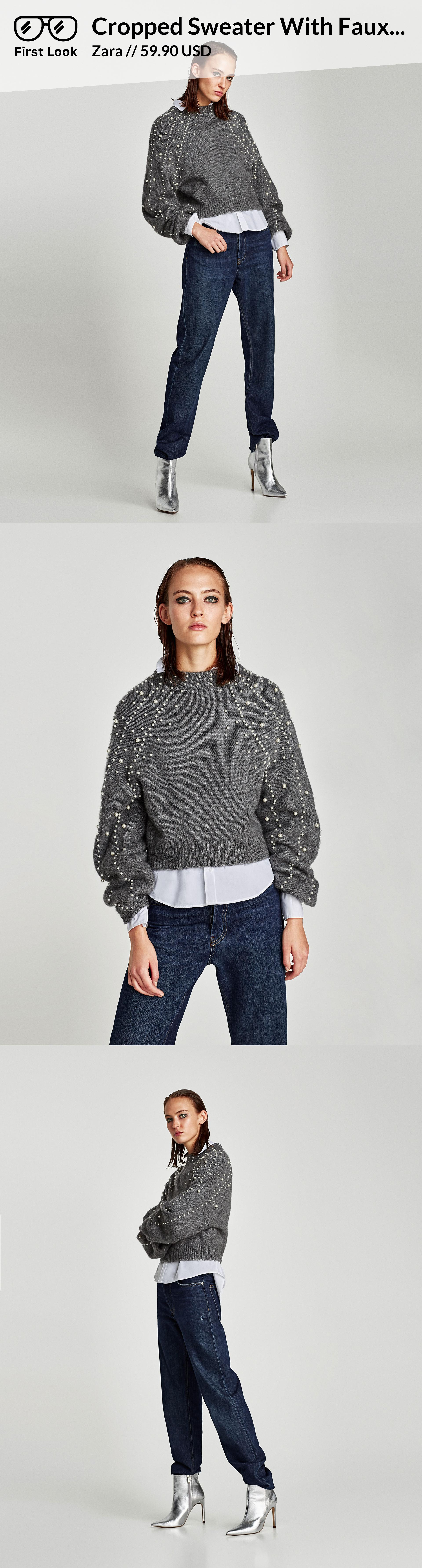 c45f16be Cropped Sweater With Faux Pearls // 59.90 USD // Zara // Round neck, cropped  sweater with long sleeves. Features faux pearls on the neckline and sleeves.