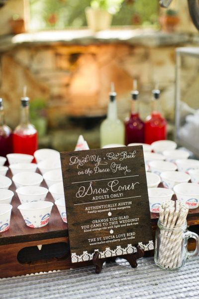 Adult snow cone bar! YES. Photography by smsphotographyblog.com 2nd Photographer by eclecticimagesphotography.com Event Planning + Design by bzevents.com Read more - http://www.stylemepretty.com/2013/07/16/wild-onion-ranch-wedding-from-sms-photography-bz-events/