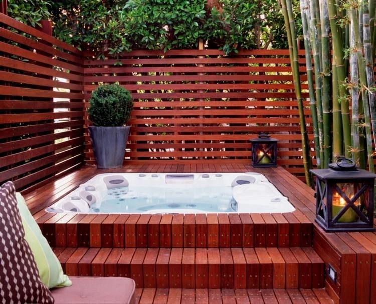 Am nagement jardin moderne 55 designs ultra inspirants - Jacuzzi en bois exterieur pour terrasse ...
