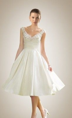 dc81d4de466 169.00  Sexy A-line Beading V-neck Knee-length Wedding Dress ...