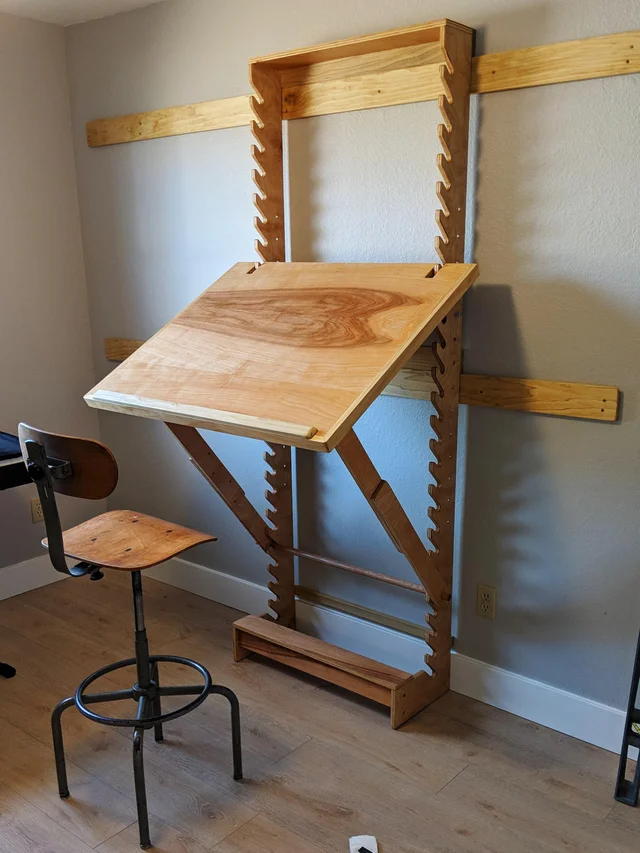 I Made an Adjustable Art Desk on a French Cleat wall Mount