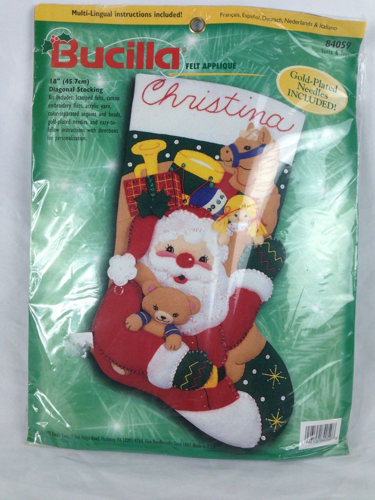 "Bucilla Applique Felt Stocking Kit Christmas 18"" Armfull SANTA and TOYS 84059 #Bucilla #StockingKit"