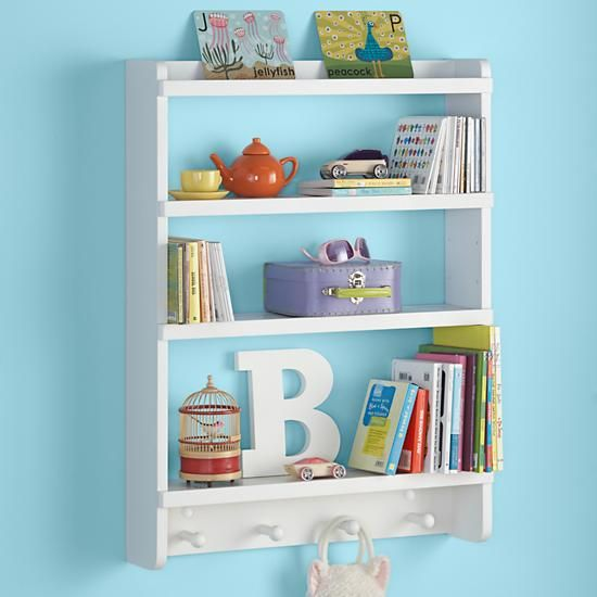 The Land Of Nod Kids Wall Rack White Hanging Book Shelf In Storage