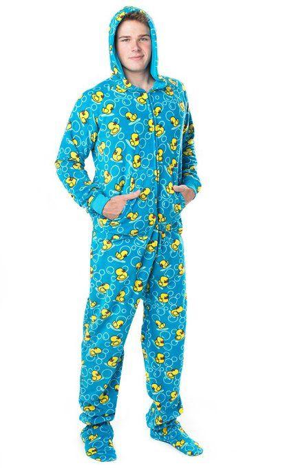 Footed  Pajamas Splish Splash Blue Adult Hoodie Drop Seat  bf2655b62
