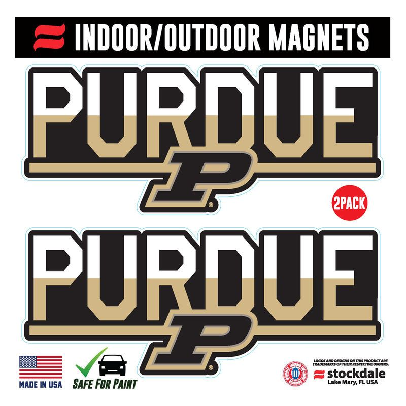 """Purdue Boilermakers 6"""" x 6"""" Two-Tone Magnet 2-Pack Set"""