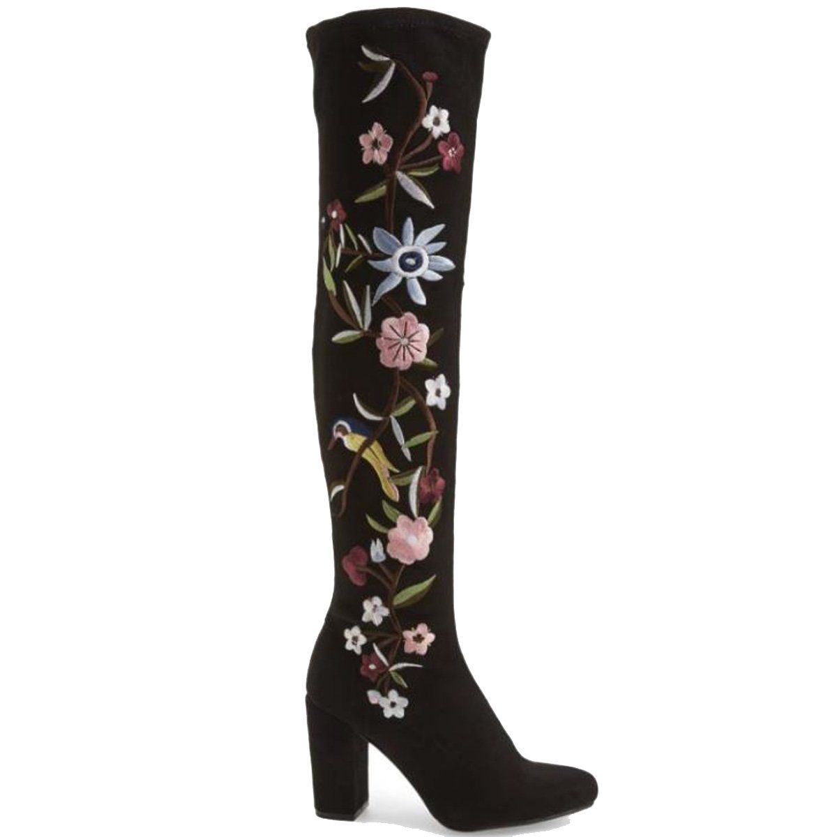 f8dd0c2d746 MIA Serena - Black Stretch Microsuede Floral Embroidered Over-The ...