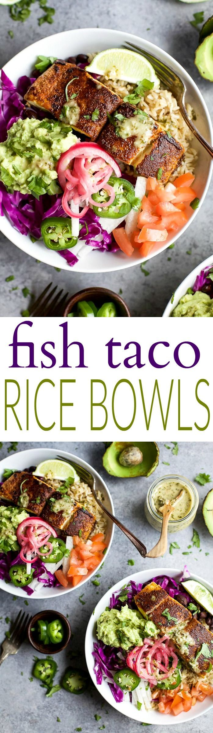 FISH TACO RICE BOWLS with avocado and pickled onions, topped with a Cilantro Lime Dressing! The perfect 30 minute meal to satisfy even the pickiest of eaters! | http://joyfulhealthyeats.com | Gluten Free Recipes