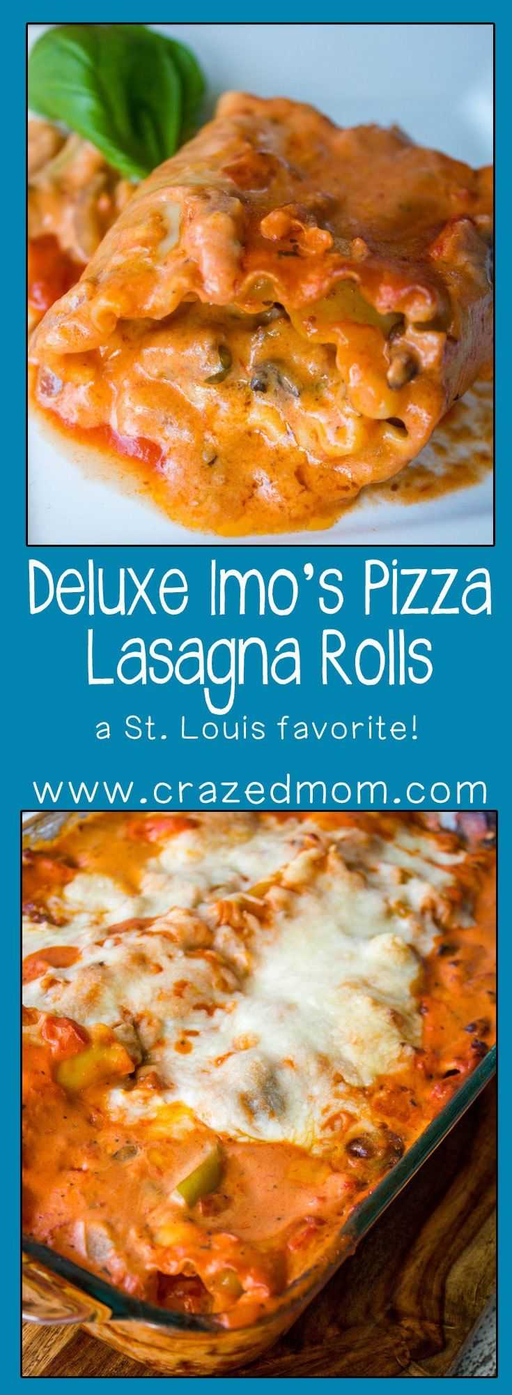 St. Louis Style Pizza in a Pasta: Deluxe Imo\'s Pizza Lasagna Rolls ...