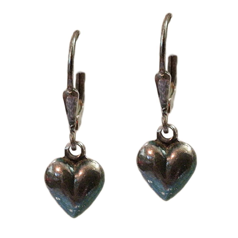 SU Puffed Heart Earrings Vintage .925 Sterling Silver Love Signed Dangle E305 #SU #DropDangle