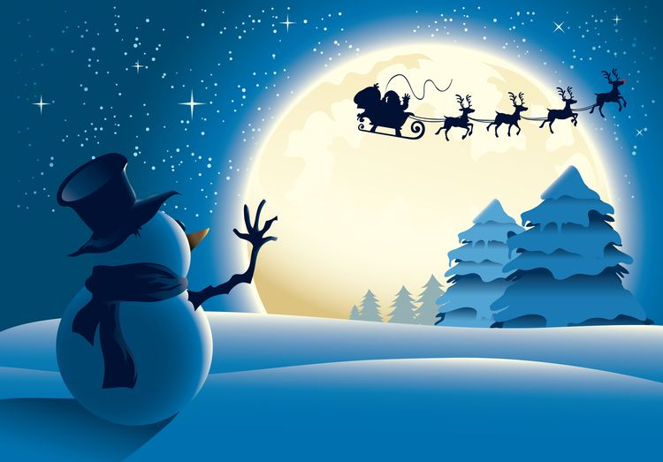 Sfondi Natalizi Renne.Pupazzo Di Neve Babbo Natale Renna Volo Luna Piena Christmas Wallpaper Christmas Wallpaper Hd Snowman Wallpaper