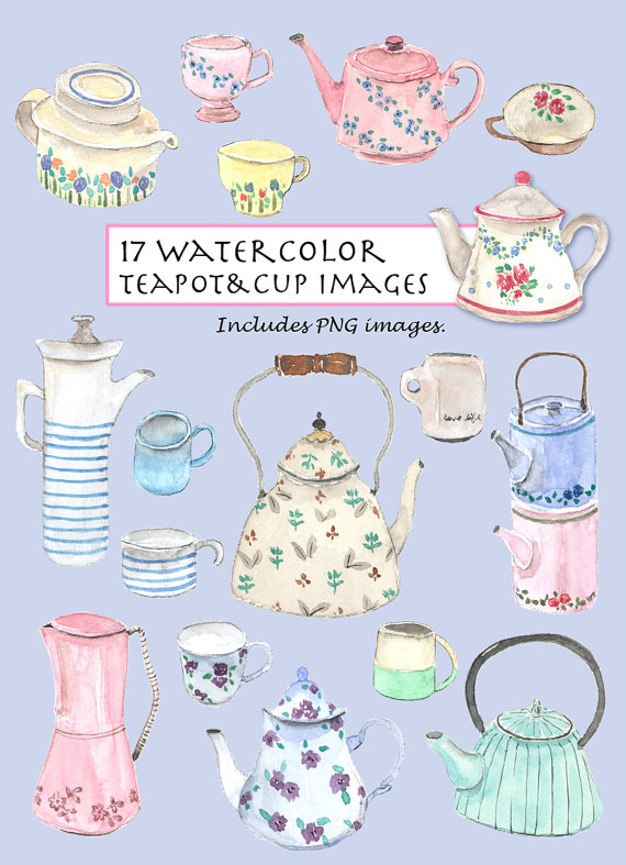 Clip Art Watercolor Vintage Teapot Cup Set 17 Images Digital