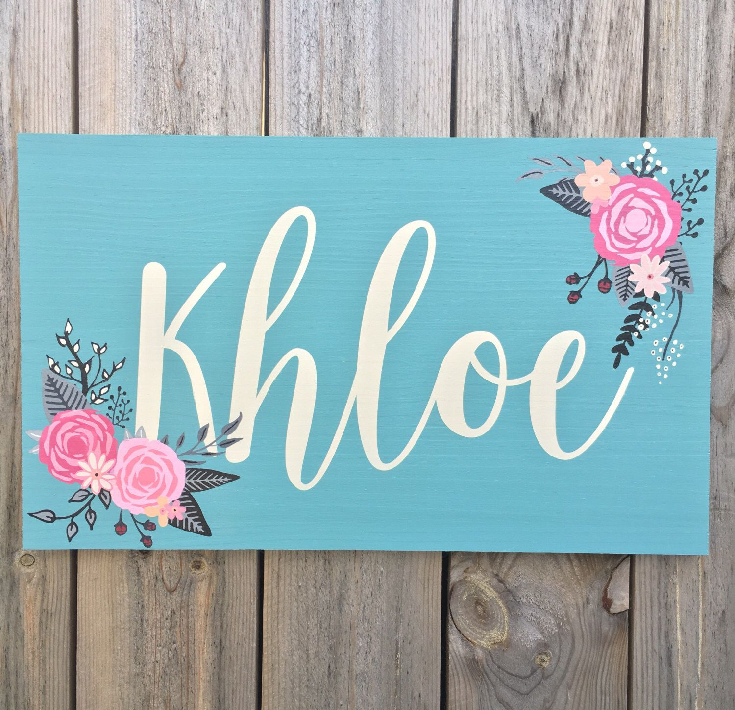 Floral Nursery Sign Floral Name Sign Vintage Inspired