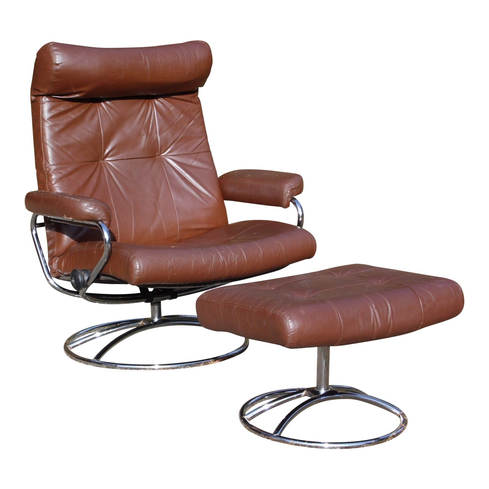 Vintage Mid Century Modern Ekornes Stressless Lounge Chair Ottoman Chrome Base With Images Chair And Ottoman Mid Century Modern Chair