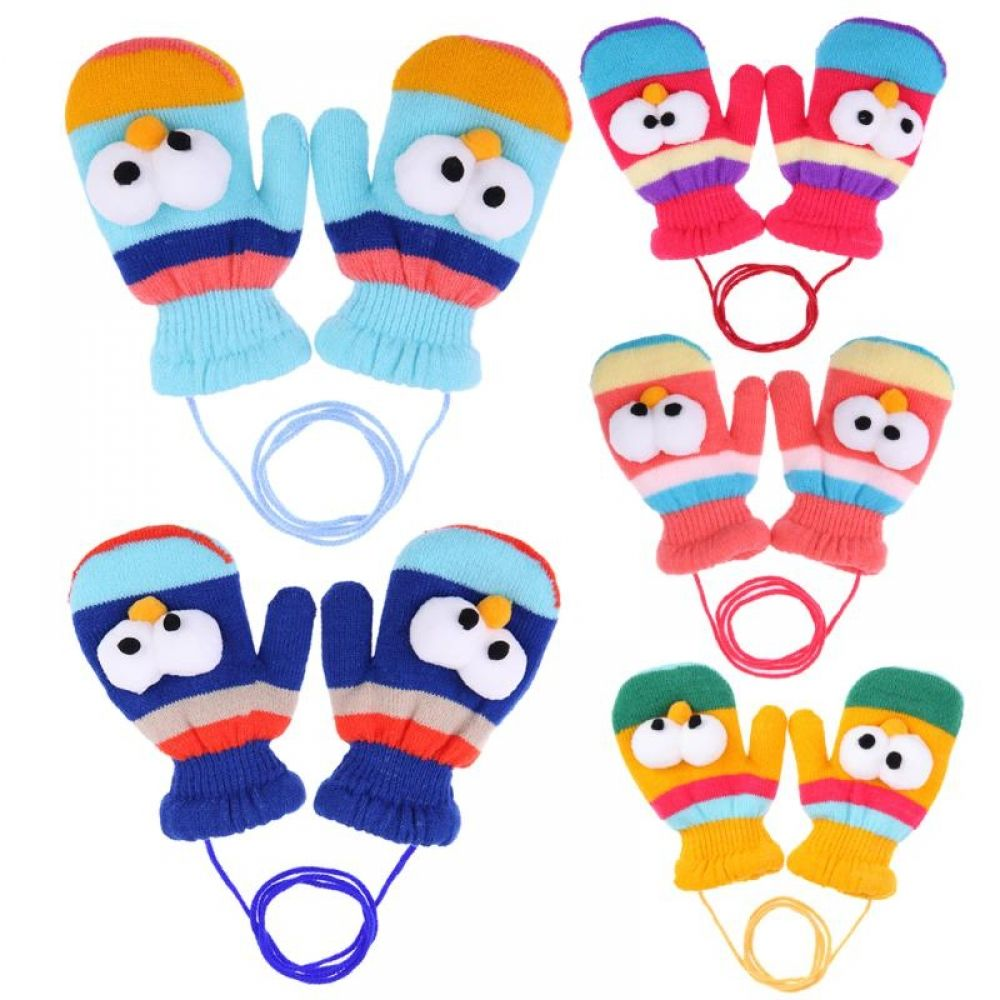 Unisex Children Elastic Mittens Metal Clips Solid Color Duckbill Gloves Clamps
