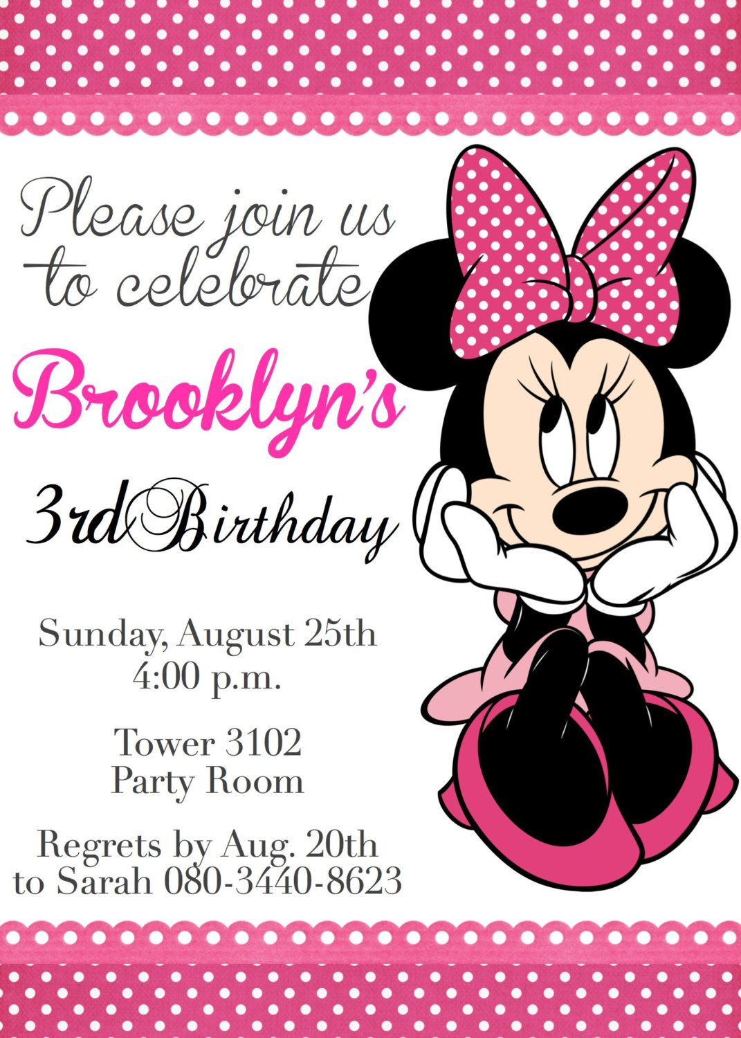 Minnie Mouse Birthday Invitation Minnie Mouse by CreationByCB ...