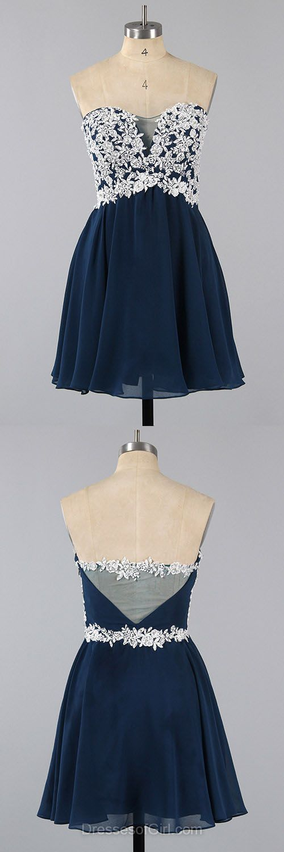 Sweetheart Prom Dresses, Dark Navy Formal Dresses, Low Back Evening Dresses, Chiffon Homecoming Dresses, Short Graduation Dresses