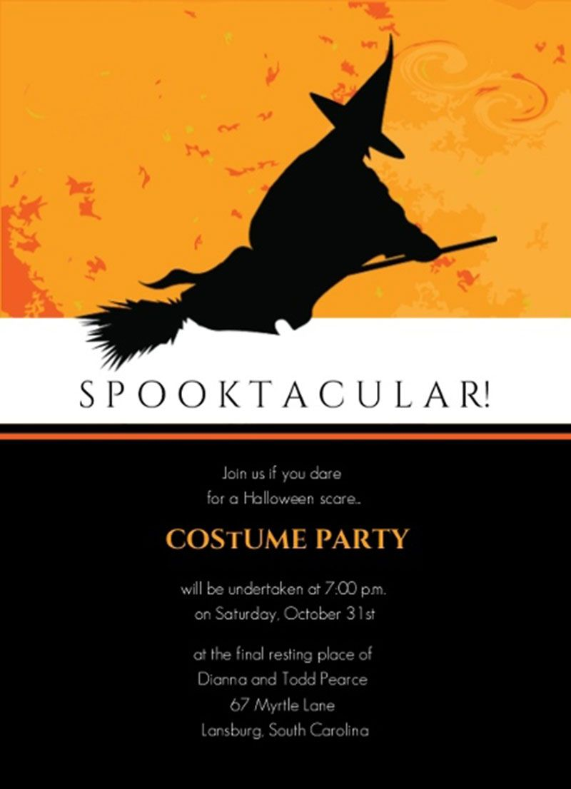 Witch Riding Broom Spooktacular Halloween Costume Party Invitation ...