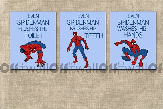 Spiderman Bathroom Art Prints Set Of 3 8x10 By Offthewallbyleah